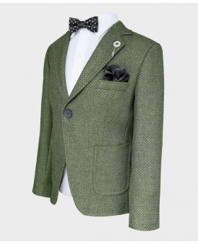 Boys Tailored fit Textured Knitted Blazer Jacket in Green with check pattern-with bow tie shirt hankei
