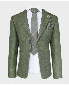 Boys Tailored fit Textured Knitted Blazer Jacket in Green with check pattern-with tie,hankie and shirt