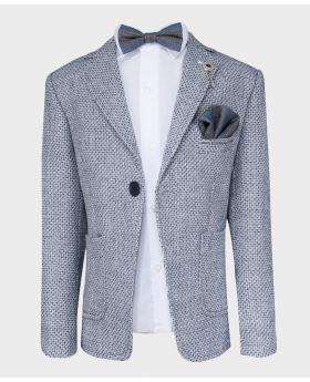 Boys Tailored fit Textured Knitted Blazer Jacket in Grey Blue- with bow tie shirt hankie