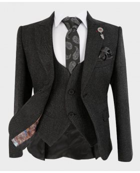 Boys Tailored fit Tweed Look Textured Charcoal Black Fashion Page Boy Suit | Boys Formal Wear | Kids Wedding Suit