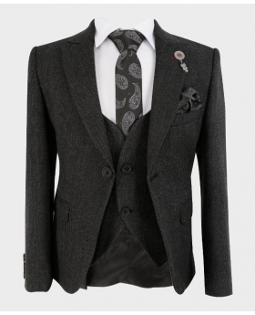 Boys Tailored fit Tweed Look Textured Charcoal Black Fashion Page Boy Suit Set with tie,hanky and shirt | Boys Formal Wear | Kids Wedding Suit