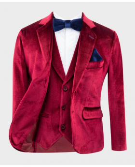 Boys Tailored Fit Velvet  Blazer with Elbow Patches in Claret Red with additional matching waistcoat and royal  blue bow tie