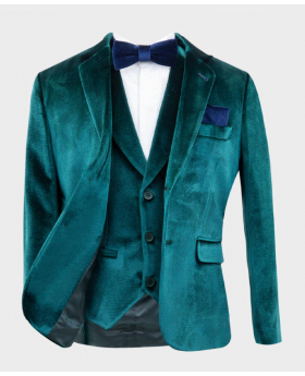 Boys Tailored Fit Velvet  Blazer with Elbow Patches in Green Open Picture