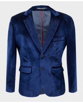 Boys Tailored Fit Velvet Blazer with Elbow Patches in Navy Blue