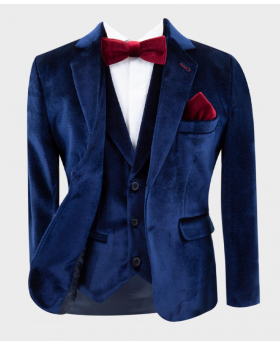 Boys Tailored Fit Velvet  Blazer with Elbow Patches in Navy Blue Open Picture