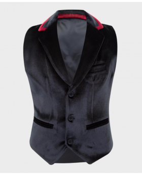 Boys Tailored Fit Velvet Waistcoat with burgundy trims in Black