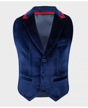 Boys Tailored Fit Velvet Waistcoat with burgundy trims in Navy Blue