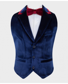 Boys Tailored Fit Velvet Waistcoat with burgundy trims Set in Navy Blue