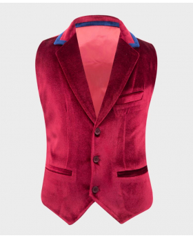 Boys Tailored Fit Velvet Waistcoat with navy blue trims in Claret Red