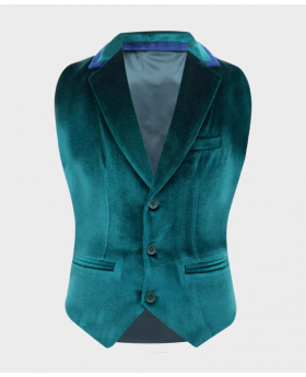Boys Tailored Fit Velvet Waistcoat with navy blue trims  in Green