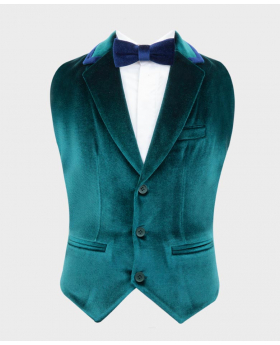 Boys Tailored Fit Velvet Waistcoat with navy blue trims Set with Bow tie in Green