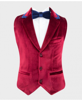 Boys Tailored Fit Velvet Waistcoat with navy blue trims Set with bowtie and hankie in Claret Red