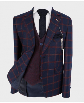 Boys Tailored fit Windowpane Check Formal Tweed Jacket in Navy Blue & Maroon - Front Blazer with shirt, tie and hankie - Fully Lined