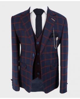 Boys Tailored fit Windowpane Check Formal Tweed Jacket in Navy Blue & Maroon - Front Blazer with shirt, tie and hankie