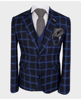 Boys Tailored fit Windowpane Check Formal Tweed Suit in Royal Blue & Black  - Front Jacket Tie Shirt and Hankie with Lapel Pin