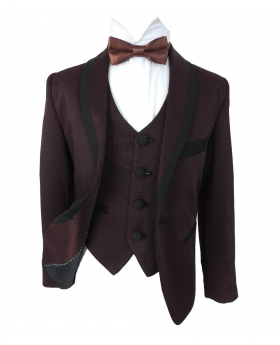 Boys Premium Flamingo Special Occasion Suit - Burgundy & Black - Benigno