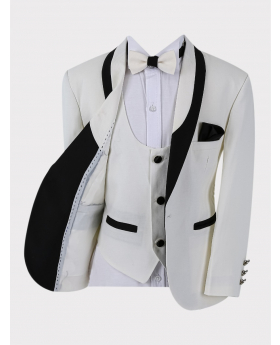 Boys Tuxedo Suit Blazer Jacket with matching waistcoat vest shirt and bow tie  in Ivory Open Front Picture
