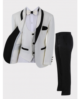 Boys Tuxedo Suit 6 Piece Communion Complete Set in Ivory