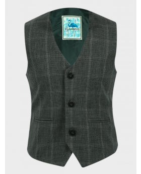 Boys Tweed Windowpane Check Slim Fit Cotton Waistcoat in Green  front picture