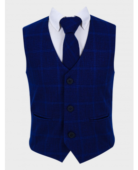 Boys Tweed Windowpane Check  Slim Fit Cotton Waistcoat in Navy Blue with tie front picture