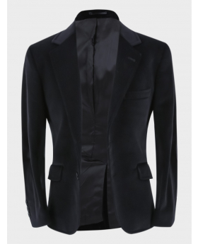 Boys Velvet Slim Fit Formal Blazer with Elbow Patches in Black front picture