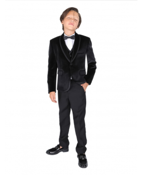 boys black velvet suit set