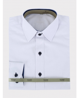 Boys Tailored Fit Cotton Shirt in White  picture