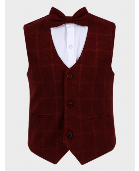 Boys Windowpane Check Slim Fit Cotton Waistcoat with bowtie in Burgundy front picture