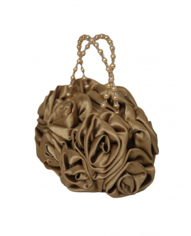 Gold Satin Ruffle Rose Flower Girls Handbag, view of the handbag form a different side.