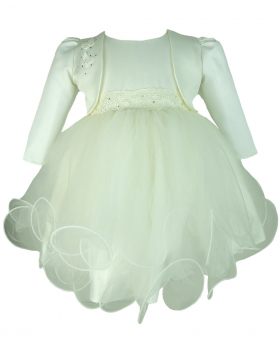 Frazer & James Ivory Sparkle Christening Wedding Dress with Ivory Butterfly Bolero Jacket