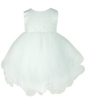 Frazer & James White Sparkle Christening Wedding Dress with White Butterfly Bolero Jacket