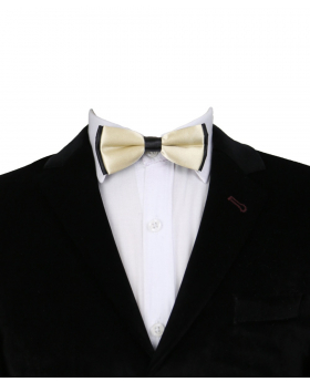 Boys Classic Neck Strap Adjustable Solid Beige Bow Ties