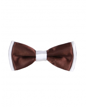 Boys Pre-tied Adjustable Neck Strap Kids Bowtie with Hanky In Brown And White
