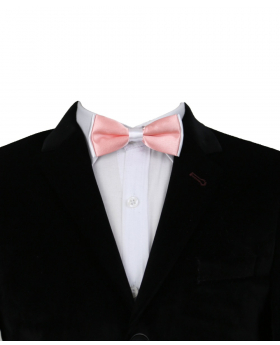 Boys Pre-tied Adjustable Neck Strap Kids Bowtie  In Coral Pink and White