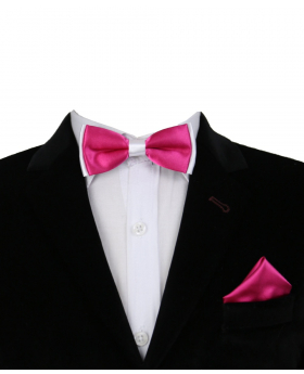 Boys Pre-tied Adjustable Neck Strap Kids Bowtie with Hanky In Fuchsia And White