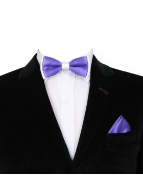 Boys Pre-tied Adjustable Neck Strap Kids Bowtie with Hanky In Light Purple And White