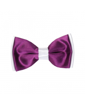 Boys Pre-tied Adjustable Neck Strap Kids Bowtie  In Plum and White