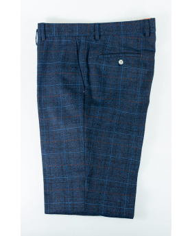 Men's Slim Fit Check Tweed Style Fashion Trousers in Blue