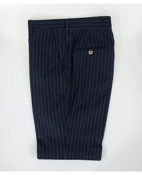 Men's Navy Blue Slim Fit Pinstripe Formal Trousers