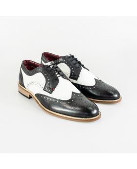 Cavani-Gatsby Men's Italian Couture Lace up Leather Brogue Shoes in Black & White - Pair