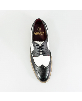 Cavani-Gatsby Men's Italian Couture Lace up Leather Brogue Shoes in Black & White - Top