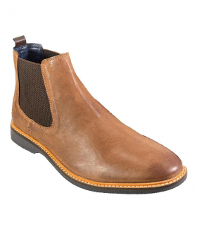 Italian Couture Mens Cavani Tan Brown Slip On Chelsea Leather Boots