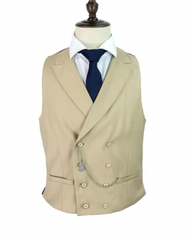 Cavani Men's Lennox Beige Slim Fit Retro Double Breasted Waistcoat - shirt and satin navy blue tie
