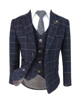 Boys Tweed Check Wool Blend Shelby Jacket, single-breasted waistcoat with shirt and accessories front  picture