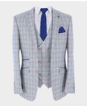 Check Blazer Jacket with accessories Open Front Picture