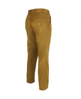 Back side view of the Designer Slim Fit Boys Mustard Chino Trousers