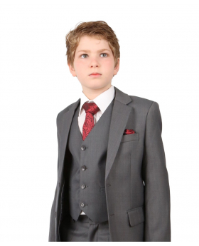 Near view of the Boys Regular Italian Fit Light Grey All in One Wedding Suit worn by a boy model