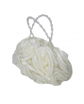 ivory Satin Ruffle Rose Flower Girls Handbag side view of the handbag