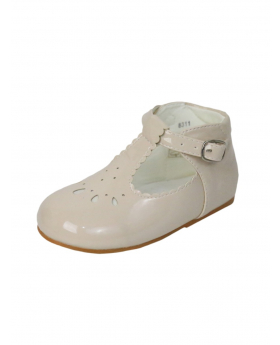 Baby Girls Patterned Design Bridesmaid Wedding Party Ivory Shoes