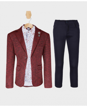 Doctor Junior Boys Burgundy & Brown Slim Fit Casual Dress Suit Set